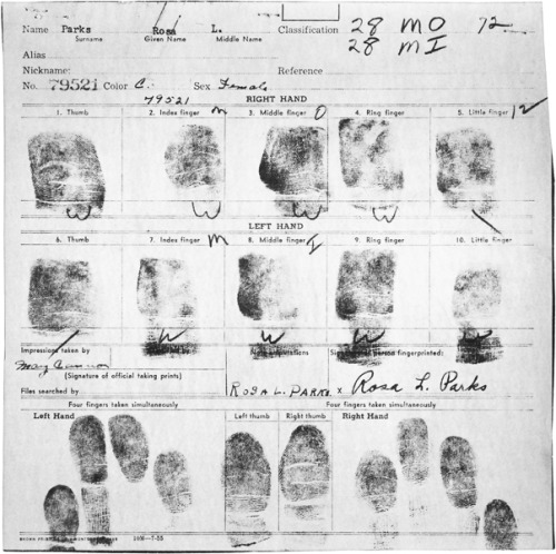 explore-blog:  The arrest records of Rosa Parks. Pair with Susan Sontag on courage and resistance.