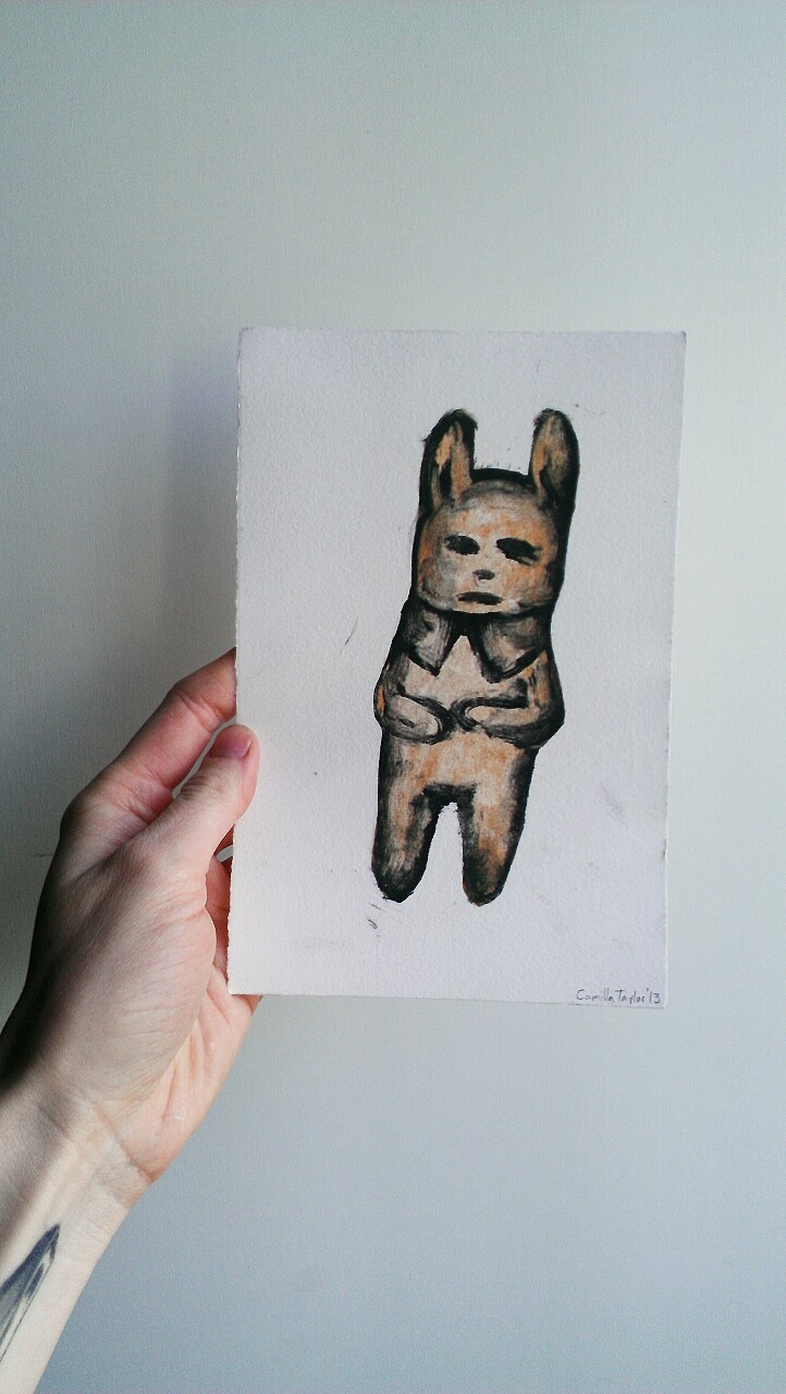 A bunny in a suit two plate monoprint, mailed to a customer.  If you are interested in these little prints, they are available in my etsy store