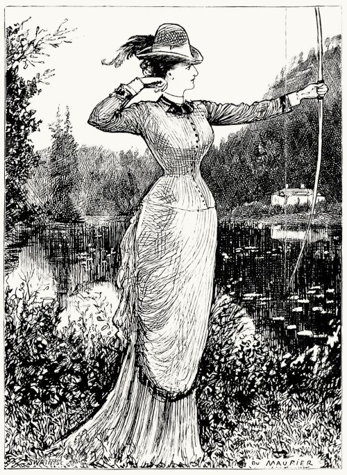 oldbookillustrations:  The fair archeress. George du Maurier, from Pegasus re-saddled, by Henry Cholmondeley-Pennell, Philadelphia, 1878. (Source: archive.org)