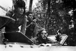 collective-history:  Cuban leader Fidel Castro sits inside a tank near Playa Giron, Cuba, during the Bay of Pigs invasion, April 17, 1961. (Raul Corrales/Granma/CP/AP)
