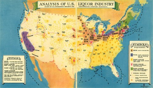 landofmaps:  1931 alcohol map of the USA [1200X690]   An atlas of Prohibition.