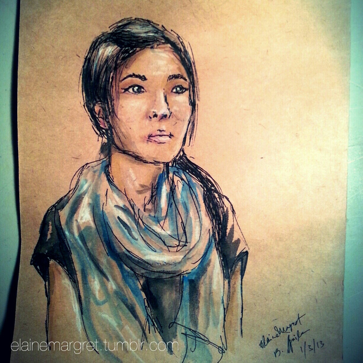 One of my 20-minute portraits this evening. Sold! Derwent Inktense pencils & 0.5 Copic multiliner http://instagr.am/p/WUeLmHv7UF/