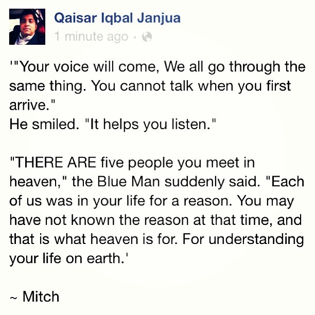 the-story-tellr:  #mitchalbom #thefivepeopleyoumeetinheaven  (at Coffee Planet)