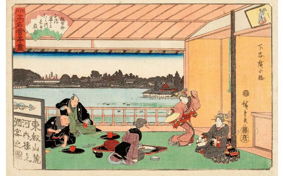Utagawa Hiroshige (1797-1858). Yaozen Restaurant at Sanya from the series Grand Series of Famous Tea Houses of Edo. Japan, Edo period, ca. 1839-1842. Woodblock print; ink and color on paper. Utagawa Hiroshige (1797-1858), a leading ukiyo-e artist who designed poetic Japanese landscape prints, also created a print series depicting fine restaurants in Edo. Hiroshige portrayed upscale places that served special meals, followed by tea ceremonies. The restaurants also functioned as meeting places for cultural activities hosted by connoisseurs. Hiroshige's depictions, accompanied by his trademark beautiful landscapes, inspired even more people to travel to Edo to experience the sophisticated delights of the city for themselves. Via.