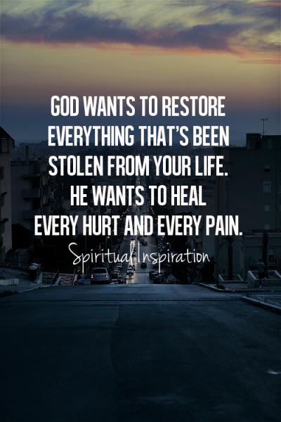 "spiritualinspiration:  ""And I will restore to you the years that the swarming locust has eaten…"" (Joel 2:25, ESV). We serve a God of restoration! You may have had some disappointments or unfair things happen in your life; but instead of dwelling on the past and living in defeat, choose to focus on His promises because God wants to restore everything that's been stolen from your life. He wants to restore your joy, your peace, your health, and your finances. But here's the key: you have to have a vision for it. You have to get your hopes up and decide to get your thoughts and words going in the right direction. Today, choose to focus on the future and release past hurts through forgiveness. Draw a line in the sand and say, ""I am a child of the Most High God, and I'm not going to live my life negative and defeated. This is a new day, and I'm taking back what belongs to me!"" That's having a restoration mentality! Prayer for Today:  Heavenly Father, thank You for choosing to restore my life. Thank You for the truth of Your Word that sets me free. Fill me with Your power today so that I may stand strong and move forward on the path You have for me. I love You and bless Your Name. In Jesus' Name. Amen."