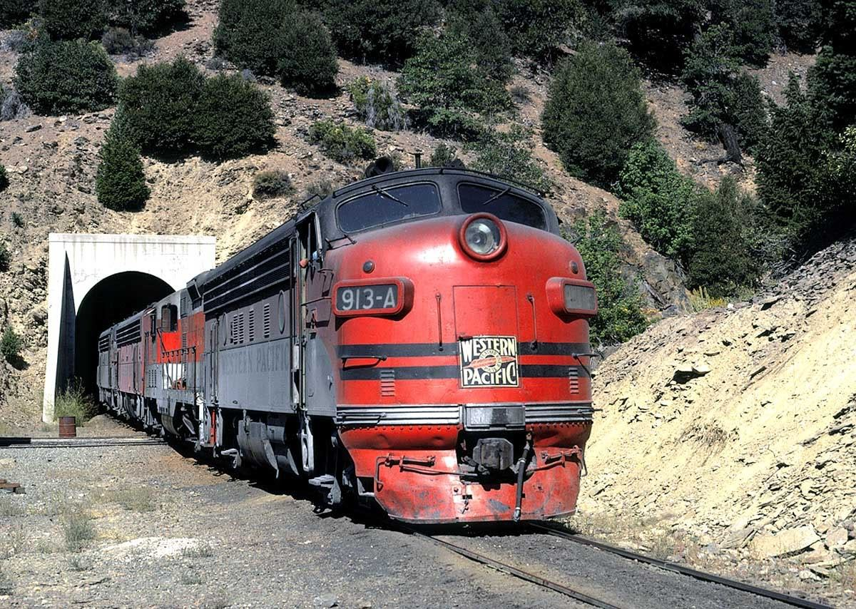 wiible:  Western Pacific EMD F7 - Keddie, California, August, 1969 - Having cut off of its train it had just brought down the Highline, F7A #913-A is passing thru the tunnel which is on the leg of the Keddie Wye. It is heading to the Keddie Yards. http://viewlinerltd.blogspot.com/2009/06/cal-rails-past.html