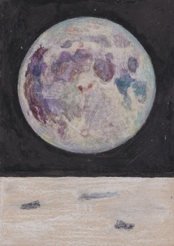 1. 'Moon' watercolour, ink and pastel on board (SOLD) 2. 'Moon' watercolour, ink and pastel on board (SOLD) 3. 'Moon' watercolour, ink and pastel on board
