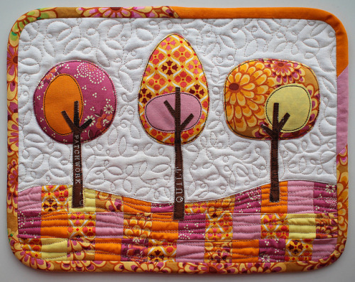 Modern Trees mini quilt by PatchworkPottery on Flickr.