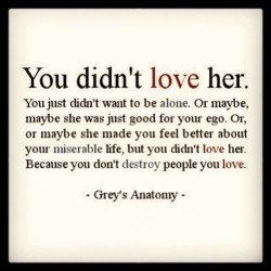 you didn't love her. because you don't DESTROY people you love. #facts #bullshit #plastic #dontsugarcoatwhatyoufuckingdid #jerk #quotes to live by!!!