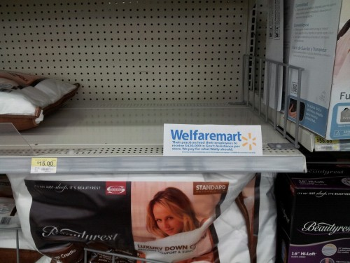 walmartelves:  We #WalmartElves were able to sneak into a #Walmart and spread truth!  More rebranding fun!