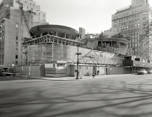 "Guggenheim Going Up: 1957 Nov. 12, 1957. ""Solomon R. Guggenheim Museum, East 89th Street & Fifth Avenue, New York. Under construction II. Frank Lloyd Wright, architect."" Large-format acetate negative by Samuel H. Gottscho."
