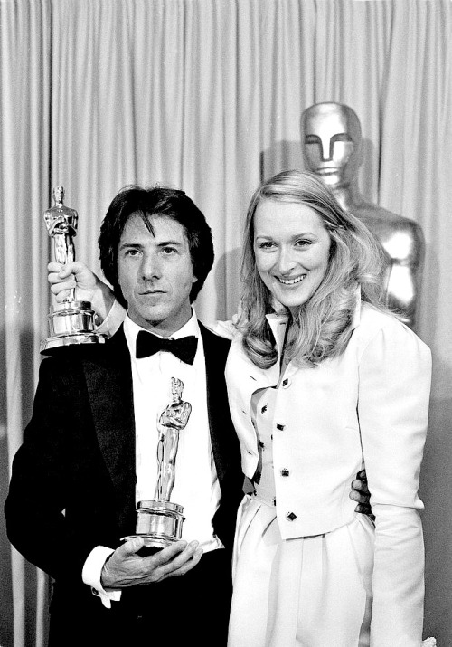Dustin Hoffman and Meryl Streep with their Oscars for Kramer vs. Kramer, 1980.