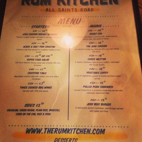 Dinner (at The Rum Kitchen)