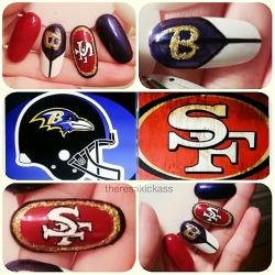 Who's ready for Super Bowl XLVII?  Ravens vs 49ers!   I knew I couldn't do these designs on myself because of the delicate details entailed so here they are on my nail wheel!