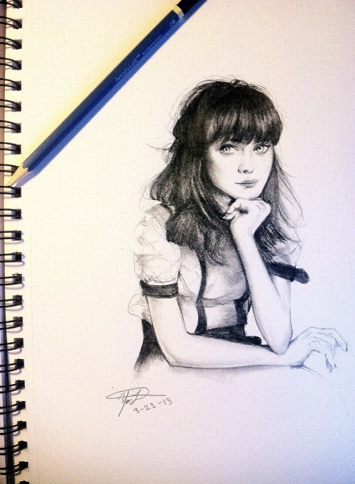 I'm stuck at home this weekend, but on the bright side I got to draw Zooey Deschanel. I see soo many mistakes, but honestly I don't really feel like fixing them so whatever lol