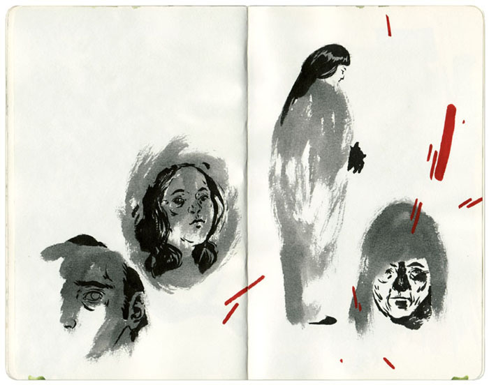Process Sketchbook: Explorative drawings in the development of larger works, as well as scenes drawn on location around town. Brush or pen and ink washes on heavyweight drawing paper. Sketchbook measures 5 x 8 inches.