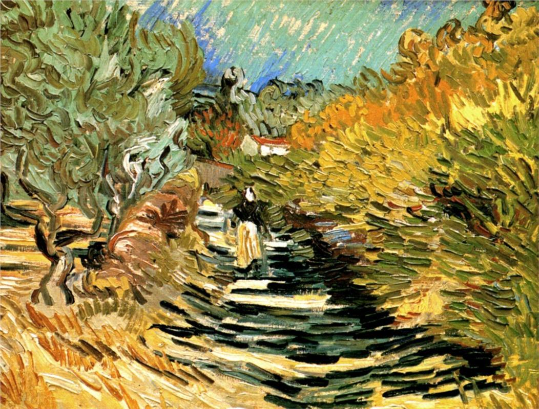 Vincent van Gogh - A Road in St. Remy with Female Figures, 1889 Kasama Nichido Museum of Art, Kasama, Japan