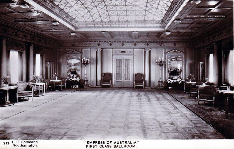 Inside the first class ballroom onboard the Empress of Australia