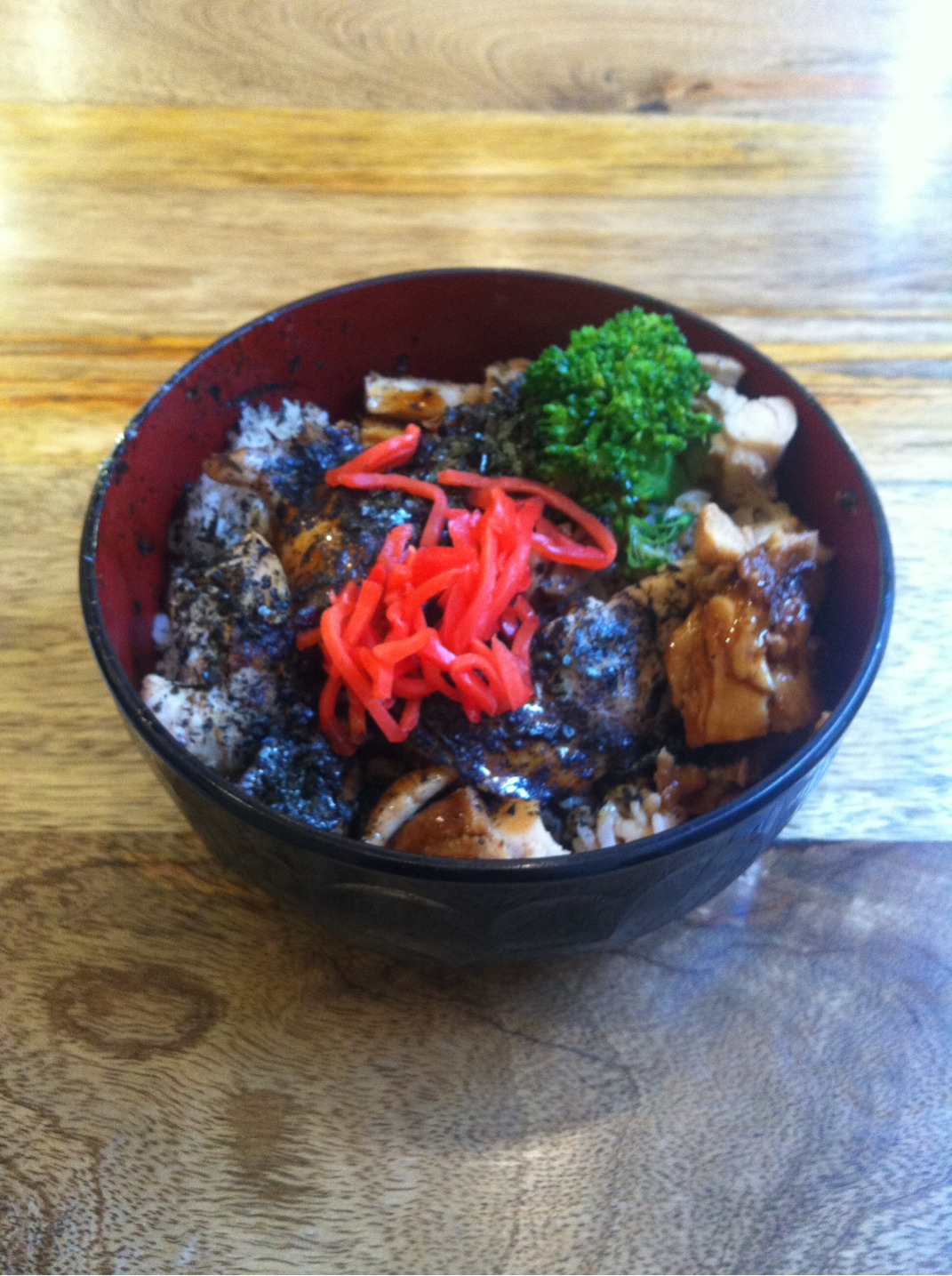 Chicken teriyaki with rice- so much flavour and so much chicken in one bowl for $6.70. Cheap as chips!