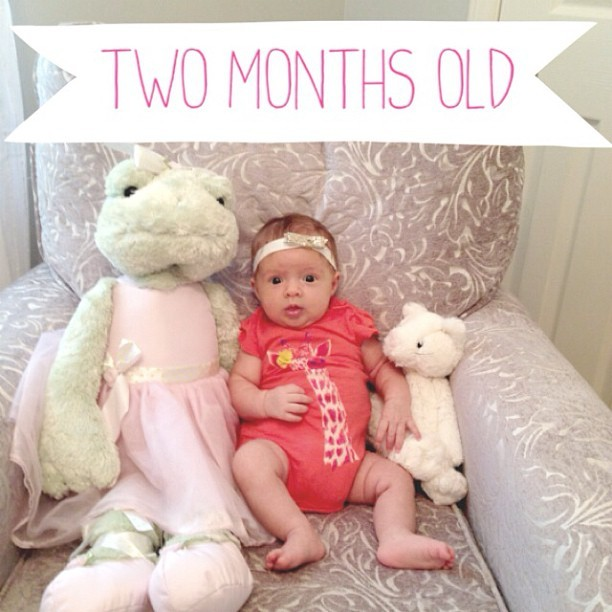 Guess who is two months (and one day) old. It has been both the longest and shortest 2 months of my life. She rewards us with more and more smiles and is becoming better at holding her own head. Her two month well visit is this afternoon and I am SO excited to see how much she weighs.   Update: we're at 10 lbs 15 ounces!!! That makes N in the 39th percentile. I am so happy because at her two week check up she was in the 7th percentile and at 1 month she was in the 19th percentile. What a big girl  she's becoming. So proud!