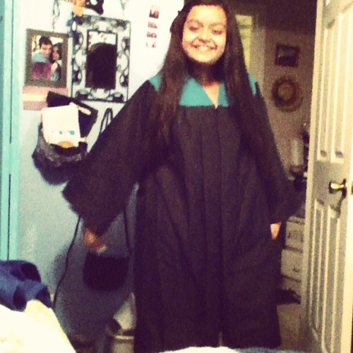 "My sister comes in my door dressed in my older sister 2009 bayside graduation gown and says ""I'm graduating with you!"" Lol she's so stupid. @one_only_me #sister #graduating #stupid #funny 🎓"