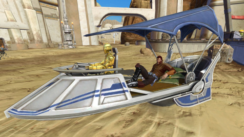 New Cartel Market shipment available in 'Star Wars: The Old Republic'  This new shipment consists of the Contraband Packs.  These packs have a whole new set of exclusive items. Ride upon a small pleasure barge, pick up a new fancy weapon, or go bare foot with these new goods. For 320 Cartel Coins the Enforcer's Contraband Pack can be purchased while the Regulator's Contraband Pack is 160 Cartel Coins.