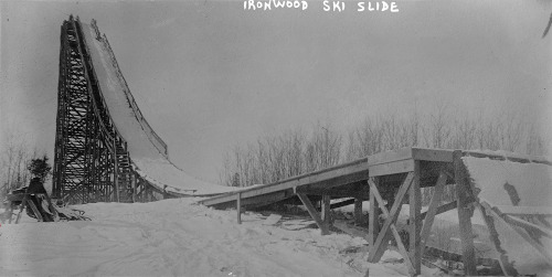 Ironwood Michigan midwest upper midwest early 20th century early 1900s ski skier skiing skijumping skijumper skijump jumping jumper jump slide snow vintage retro history classic Old b&w film analog glassplate glass plate photography largeformat large format