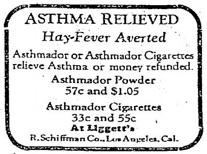 """Asthmador was a nonpresciption treatment for the relief of bronchial asthma made by the R. Schiffmann Company. It consisted of a mixture of belladonna, stramonium and potassium perchlorate, and was a fine powder intended to be burnt and the smoke inhaled. The primary alkaloid present in the mixture was hyoscyamine, and when the powder was ingested rather than burnt, could be used to induce hallucinations."" (via wiki) March 1st, 1929"