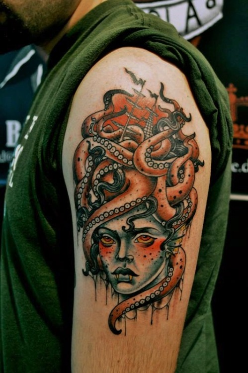 fuckyeahtraditionaltattoos:  sea is a cruel mistress. by brane doricic @ croatian tattoo convention.