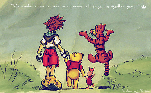 radicaldreamersteph:  I love the Sora and Pooh friendship and bits in KH + KH2.  ***SPOILERS**** So many times touched my heart. Ah when they are all sat/stood on the hill and saying goodbye….and when you realize that Pooh has forgotten Sora in KH2….I cried… especially at the but where he forgot Sora.  keep in mind no matter haw far u go friend will come and go where ever u go
