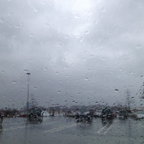 Dry in my car on a rainy day #rain #car #sky #cloudy #outside #mall #weather #raindrops #windshield