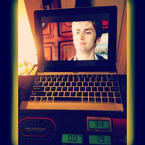 #Treadmill & #TARDIS time! Rainy cloudy day so back to treadmill. #DoctorWho #TheDoctor #Whovian #exercise #fitness #walking