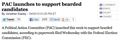 We, the largely-bearded staff of SFB, are excited about this news. Also, Oklahoma Senator Tom Coburn occasionally sports a beard; will this PAC support his reelection if he pinkie-promises not to shave it again? source