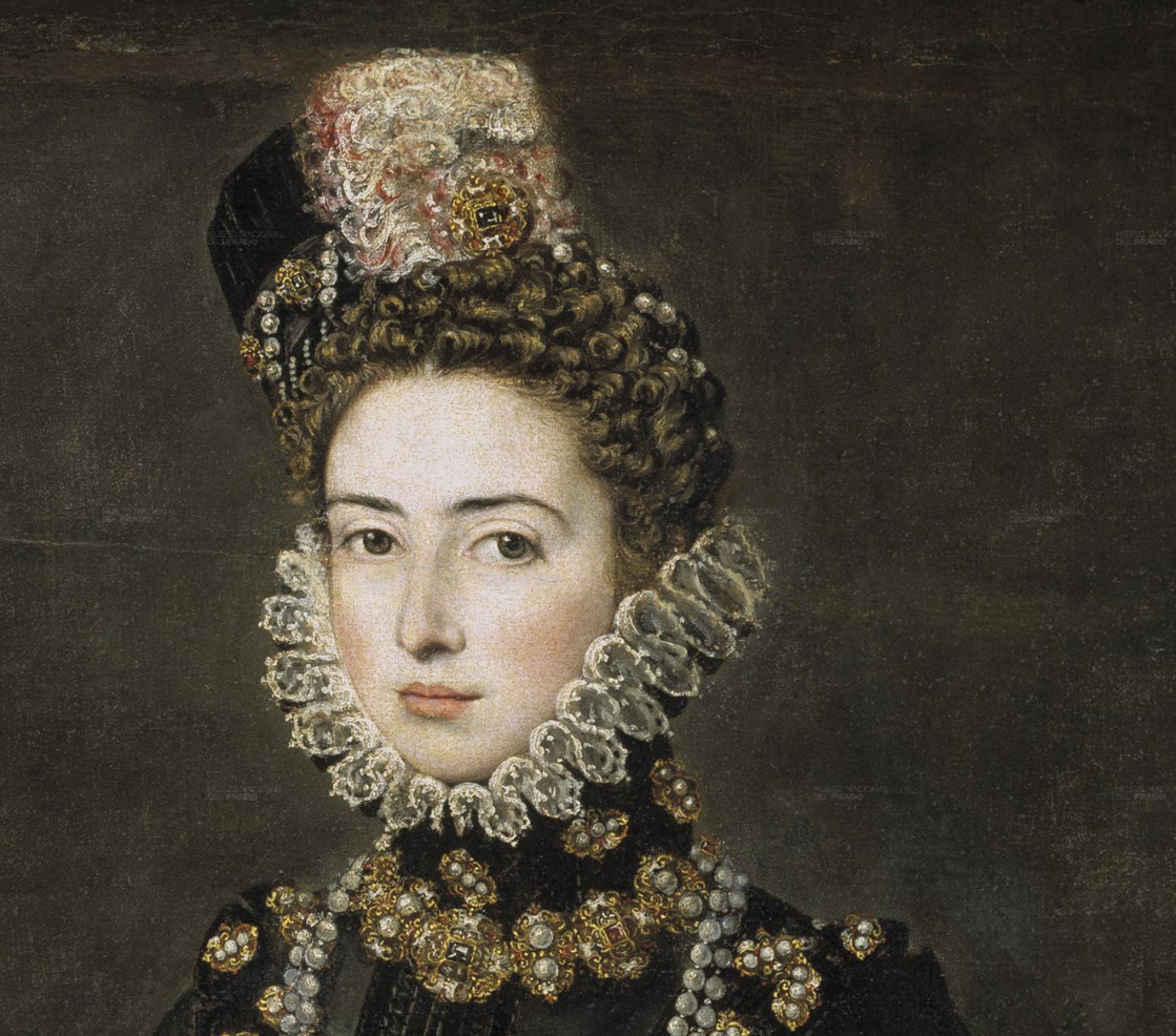 The Infanta Catalina Micaela of Spain and Portugal (1567-1597), daughter of Felipe II and Duchess of Savoy through her marriage to Charles Emmanuel I. Catalina Micaela was very close to her older sister Isabel Clara Eugenia and her father. Her early death at 30 was a terrible blow to both of them and the elderly Spanish King would die a year later in 1598. Her three eldest sons moved to their uncle's court in Madrid to complete their education in 1903. Her third son, Emmanuel Filibert of Savoy, entered in the service of her brother King Felipe III in 1610. His uncle made him Grand Admiral and appointed him Viceroy of Sicily. Her eldest daughter, Margaret of Savoy, Duchess consort of Mantua and Montferrat, was appointed Vicereine of Portugal by her cousin King Felipe IV. She died in her mother's native Spain 15 years after Portugal's independence.