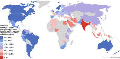 "From globalvoices:  A fascinating map of the world's most and least racially tolerant countries Via Washington Post  I'd really like to look more closely at these surveys. But, then again, I'm not one to trust surveys too much. Why? Because people will often answer a survey based on their knowledge of what they're supposed to say.  For example, I find it hard to imagine that less than 4.9% of Americans really wouldn't mind if people from another race moved into their neighborhoods. Several decades of ""white flight"" and suburbanization suggests otherwise.  Here's an interesting test: Did you go to either a private or a suburban public high school? Was it mostly white? When was it founded? If you answered yes to the first two questions, I'm pretty sure your school was built shortly after schools were desegregated. The key dates are 1954 and 1971. The first is the year that Brown v. Board of Education was decided. The second is the year that Swann v. Charlotte-Mecklenburg Board of Education introduced forced bussing within school districts to achieve racial balance in public schools (although ""white flight"" had already begun in earnest in the 1960s). A lot of new private and suburban schools suddenly popped up around that time. Here's some examples. This is a list of private schools in Mississippi (pulled from Wikipedia) and their founding dates: Chamberlain-Hunt Academy (1830) Trinity Episcopal Day School (1885) Jackson Academy (1959) Heritage Academy (1964) Indianola Academy (1965) Pillow Academy (1966) Copiah Academy (1967) Humphreys Academy (1968) Benton Academy (1969) Washington School (1969) Madison-Ridgeland Academy (1969) Jackson Preparatory School (1970) Parklane Academy (1970) Sharkey-Issaquena Academy (1970) Hillcrest Christian School (1971) Strider Academy (1971) Southern Baptist Education Center (1972) There were many others that simply didn't have Wikipedia pages. But in this sample, 11.8% were established in the 150 years of statehood that preceded Brown v. Board; the other 88.2% were established between 1959-1972 (the era of public school desegregation). And that's not even counting the new suburban school districts that suddenly popped up in the 1960s and 1970s. I should add that this patterns is not unique to Mississippi. It's pretty true throughout the US, one either side of the Mason-Dixon line. Find a list of private schools in your state on Wikipedia, and then look up their founding dates (if available)."
