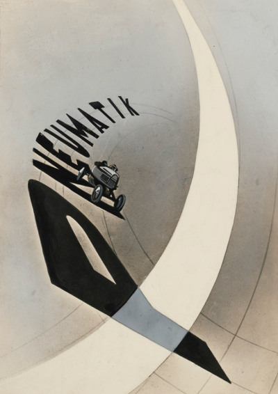 "László Moholy-Nagy 1895-1946, Advertising Poster (Pneumatik) - ""With its dynamic combination of image and type and its evocation of the speed of the machine age, 'Advertising Poster' (Pneumatik) is the key example of Moholy's concept of Typophoto—the synthesis of typography and photography that he predicted would become the lingua franca of the modern era. Moholy's manifesto of Typophoto, published in 1926 in the Leipzig journal Offset Buch and Werbekunst, outlines with his customary and remarkable prescience the future of printed communications in the twentieth century. In Moholy's vision, the traditional linear type of Gutenberg would be exploded by the use of photographic reproductive techniques, techniques that would make possible the incorporation of images with type and the transformation of type itself. As Moholy wrote, 'The typophoto governs the new tempo of the new visual literature' (quoted in Bauhaus Photography, MIT Press, p. 138). """
