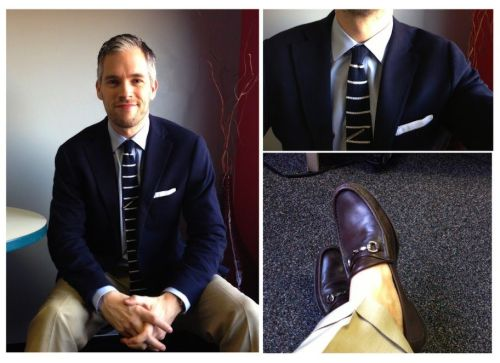 Real People: Sockless & Stripes I'm a bit jealous of Mark in Atlanta. While we're in galoshes and winter-boot weather in Chicago, he's been able to go sockless while wearing loafers. I'll admit to being drawn toward the sockless (or no-show sock) trend for a while, but I've come to find it really only looks best with loafers or casual mocc-toed shoes (like boat shoes) because of its informality.  I also enjoy his striped silk knit tie. While Derek has written in the past about the versatility of the black silk knit tie, I think a good second or third silk knit purchase might be ones with stripes or sewn dots. The added pattern allows you to have a casual piece of neckwear that can take an ensemble that's composed of solids and break the plainness of the look.  -Kiyoshi