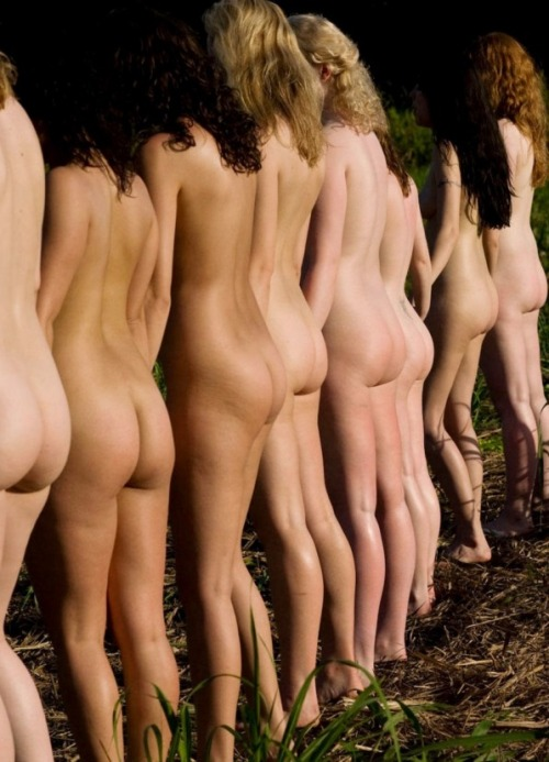 Girls lined up naked and showing their bare behinds!Found on Tumblr blog PuppetBitch