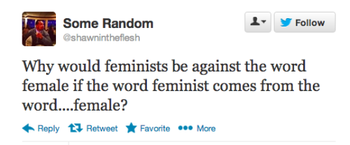 "Because referring to a woman as a ""female"" is reductive. Female WHAT??? Female dog? Female cat? Female describes the sex of something. It doesn't indicate HUMAN unless you specify. Sit down, sir."