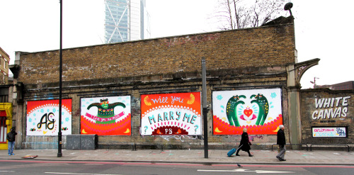 A wedding proposal mural by Animaux Circus on the Shoreditch Art Wall, London. Created in collaboration with WeAreCan, painted over 2 and a half days in preparation for Phil, the client to walk his girlfriend of 3yrs past on saturday the 23rd of February, the piece will remain on the wall until 9th March.