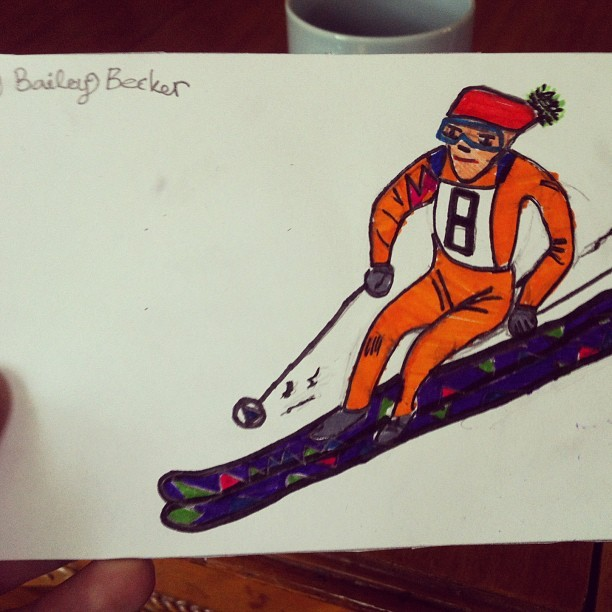 Another gem from my niece-bailey #drawing #awesome #skiing  (at Chez Becker)