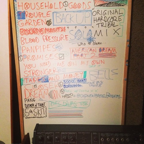 Taking down my studio. This was the mission whiteboard for Trouble.