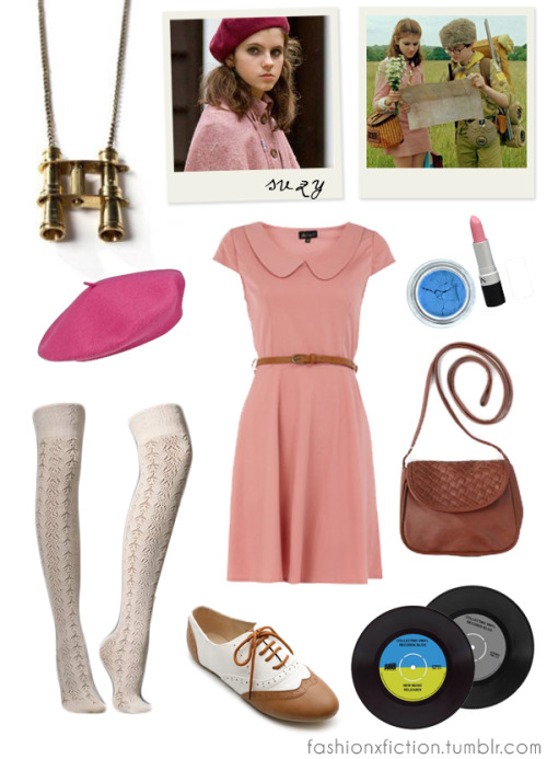 Fashion inspired by Suzy Bishop from Moonrise Kingdom (2012). A pair of young lovers flee their New England town, which causes a local search party to fan out and find them. http://www.imdb.com/title/tt1748122