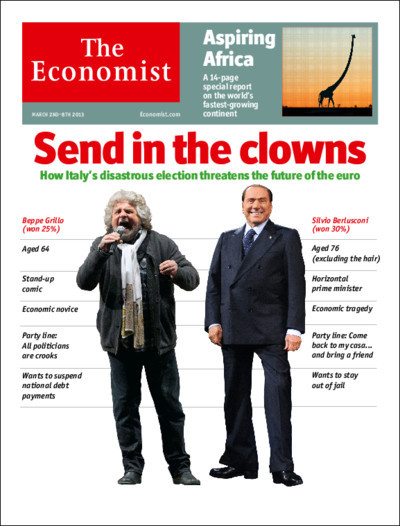 Tomorrow's cover today: how Beppe Grillo and Silvio Berlusconi threaten the future of Italy and the euro.