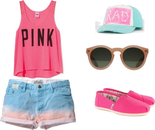 PINK by dindacitraa featuring victoria secret tank topsVictoria's Secret victoria secret tank top / Scotch & Soda scotch soda, $115 / TOMS slip on sandals, $64 / GANT  eyewear / Billabong neon snapback hat