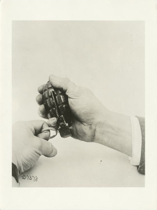 gunsandposes:  Photograph of a grenade, circa 1918, from the Pageant of America Collection courtesy of the New York Public Library.