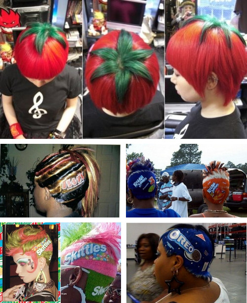 16 Hairstyles Inspired By Food [Click if you're hungry for more] If you've ever looked down at your plate and thought to yourself, this would probably look better on my head, then this gallery is for YOU. Hair so delicious it feeds both the mouth and the eyes. Well probably not the mouth. We hope. (Please don't start eating hair.)