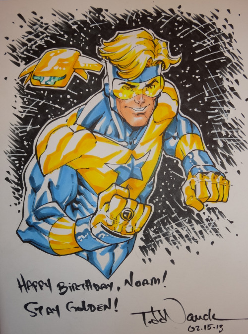 Booster Gold with Skeets.Drawn with Pigma Micron and Copic Sketch markers for my pal, superstar inker, Norm Rapmund.Learn more about COPIC markers.