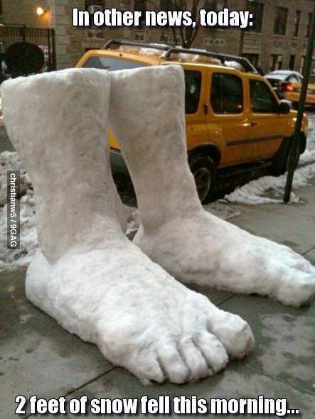 9gag:  2 feet of snow fell this morning.