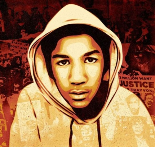 "Eighteen years ago today, Trayvon Benjamin Martin was born to Sabrina Fulton and Tracy Martin. Nearly a year ago, their son was killed by George Zimmerman, a neighborhood watch volunteer in a gated community in Sanford, Fla., who viewed Trayvon as ""a real suspicious guy.""  Instead, the unarmed teenager was found with a bag of Skittles and an iced tea from 7-Eleven and a bullet hole in his chest from Zimmerman's Kel-Tec 9 mm PF-9.  more. +++++ art: by Shepard Fairey"
